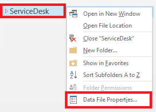 Right click the generic mailbox and select Data File Properties