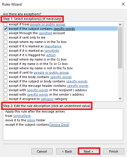 Select any exceptions, click the blue hyper link to to setup the exception, then click next.