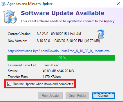 Leave Run the update when download completes checked