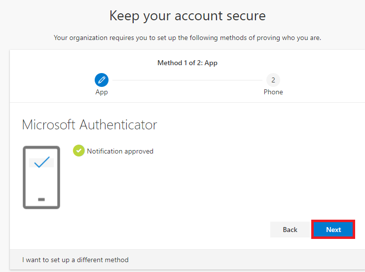 Microsoft Authentication- Notification approved