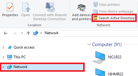 Select Network, then select Search Active Directory