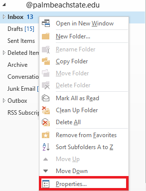 Right click the folder and select properties
