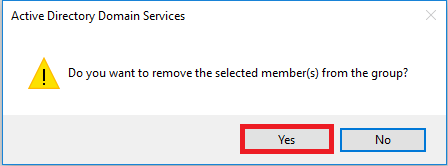 Select Yes to confirm you want to remove the user