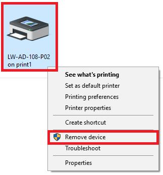Right-click the printer then select Remove Device