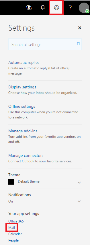 Select Settings, then select mail at the bottom