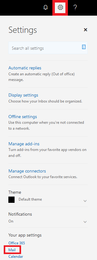 Select settings then select mail.