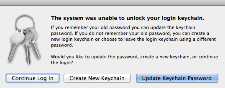 The system was unable to unlock your login keychain.