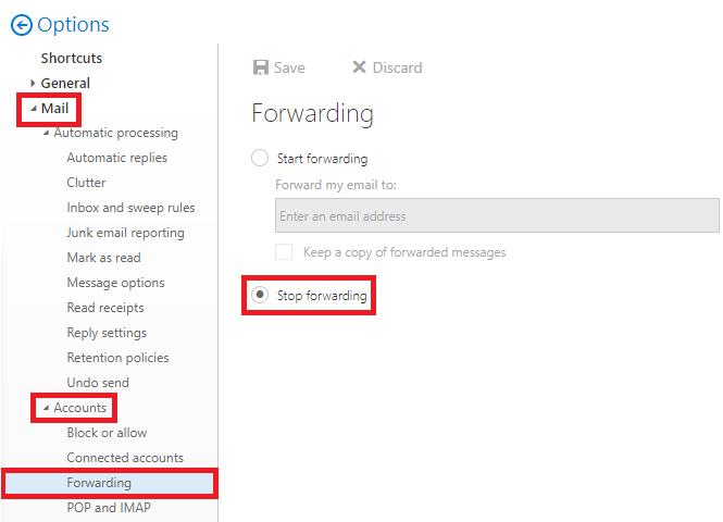 From the Forwarding settings, select Stop forwarding