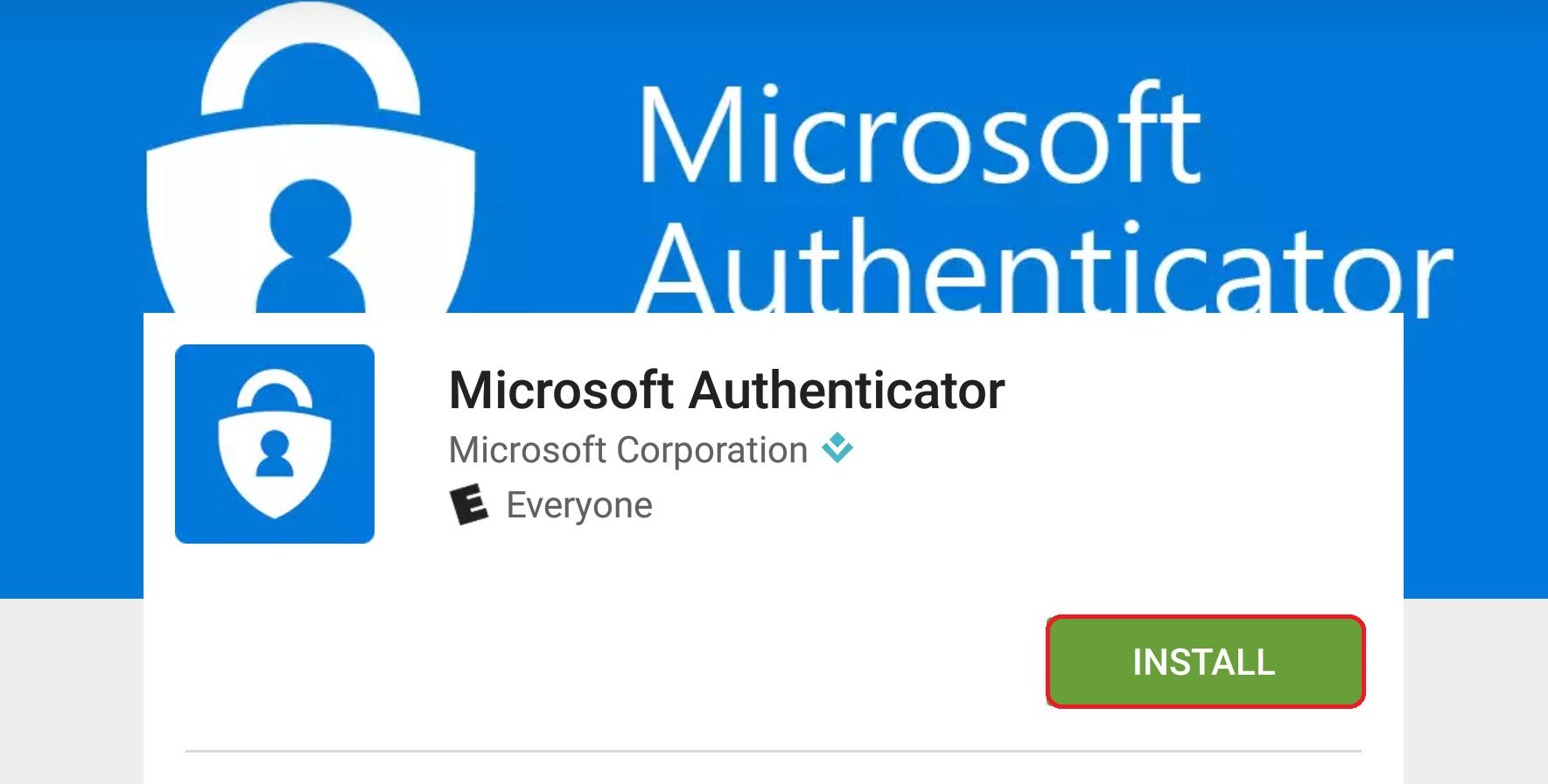Microsoft Authentication app installation