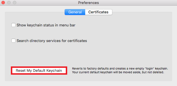 Select reset my default keychain