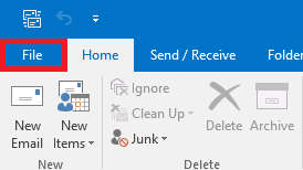 Select the File tab in the top left