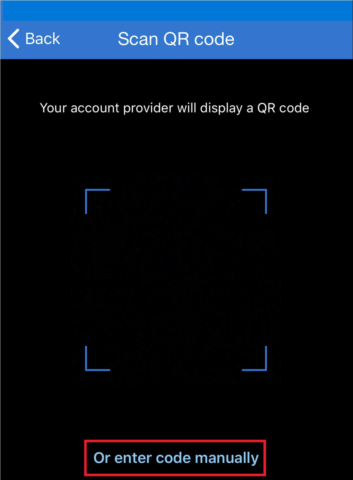 A screenshot from an iPhone to scan a QR code.