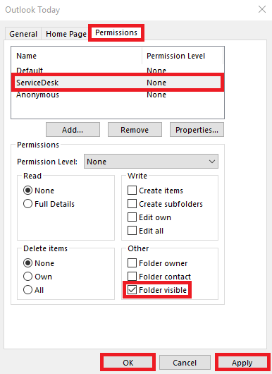 Select the name added, check the folder visible option, then select apply and ok