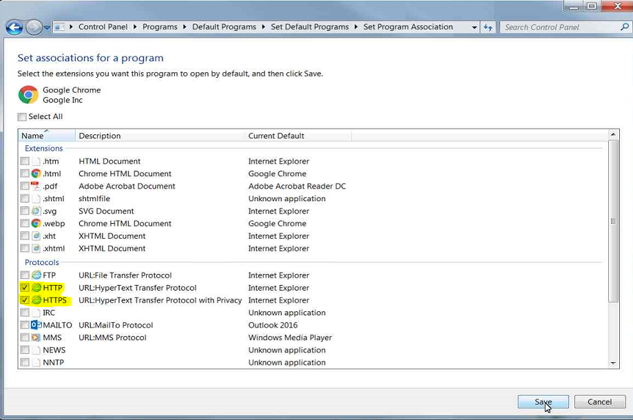 Set associations for a program, under protocols select HTTP and HTTPS then click OK