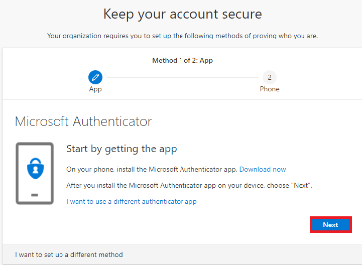 Click on Next under Keep your account secure