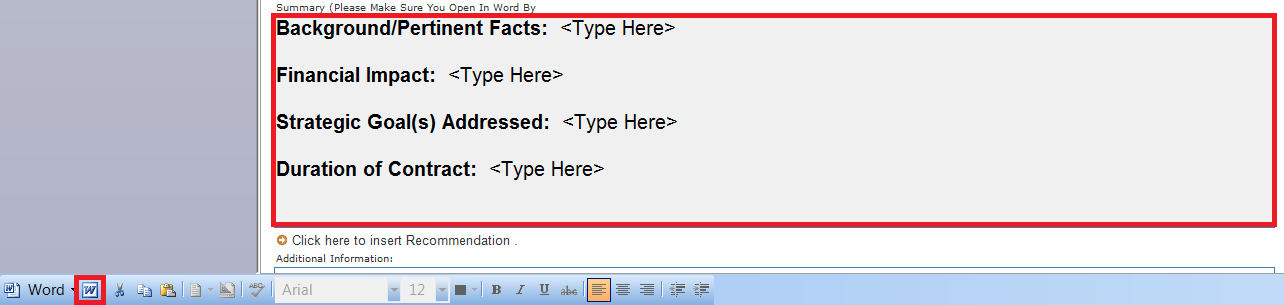 Select the summary box, then select the Word icon.